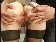 Ophelie,  French mature sodomized in stockings<br>