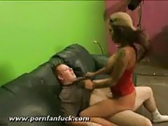 Sexy pornstar fucks fan