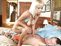 Horny blonde sneaks and fucks her sleeping lover