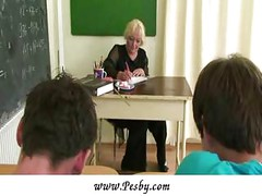 Mature teacher fucked by two<br>