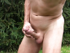 outdoor cumshot with shaved cock