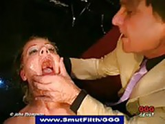 Degraded slut drenched in piss at bizarre orgy