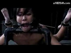 Tattooed Girl Mouthgagged Tied On The Floor Hook In Her Ass Whipped Pussy Fucked With Dildo In The Dungeon<br>