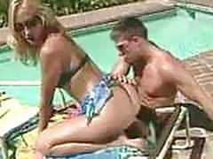Poolside bikini blonde anal