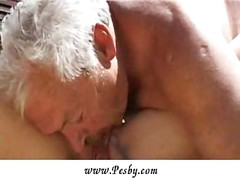 Old man enjoying huge boobs and young pussy<br>