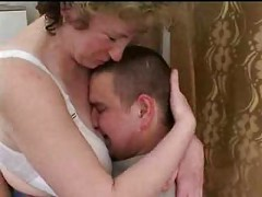 Mature Russian Mom seduces fat boy ( amateur granny mother milf granny olderwoman youngerman cumshot blowjob homemade )<br>