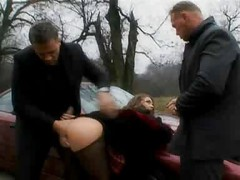 outdoor 3some - fucked on the bonnet of the car