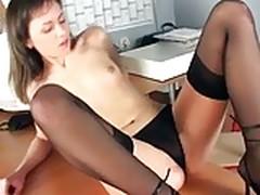 Skinny Secretary Masturbating